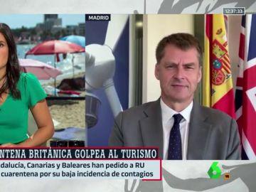 """El embajador de Reino Unido en España descarta por ahora levantar la cuarentena a Canarias y Baleares: """"Hoy por hoy es para todo el país""""""""·"""