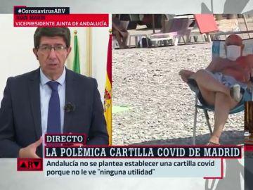 """Juan Marín descarta crear una 'cartilla Covid' para Andalucía: """"No compartimos esta propuesta"""""""