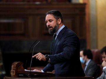 El líder de Vox, Santiago Abascal, durante su intervención en el pleno del Congreso.