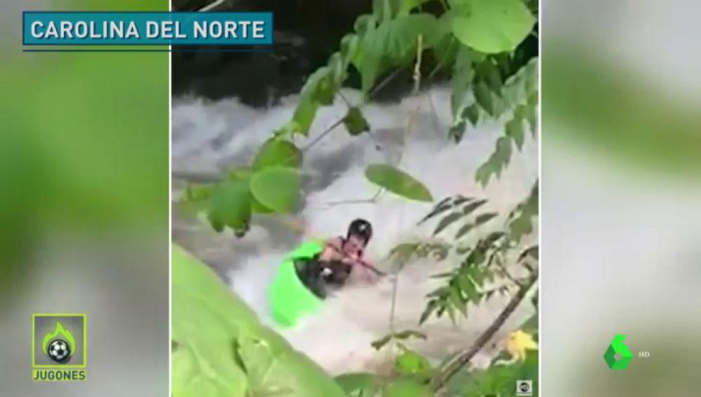 El angustioso rescate a un kayakista
