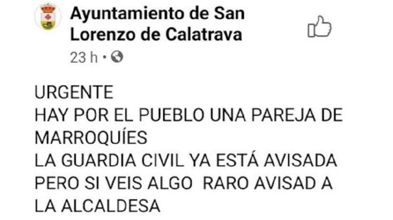 Mensaje en Facebook del Ayuntamiento de San Lorenzo de Calatrava