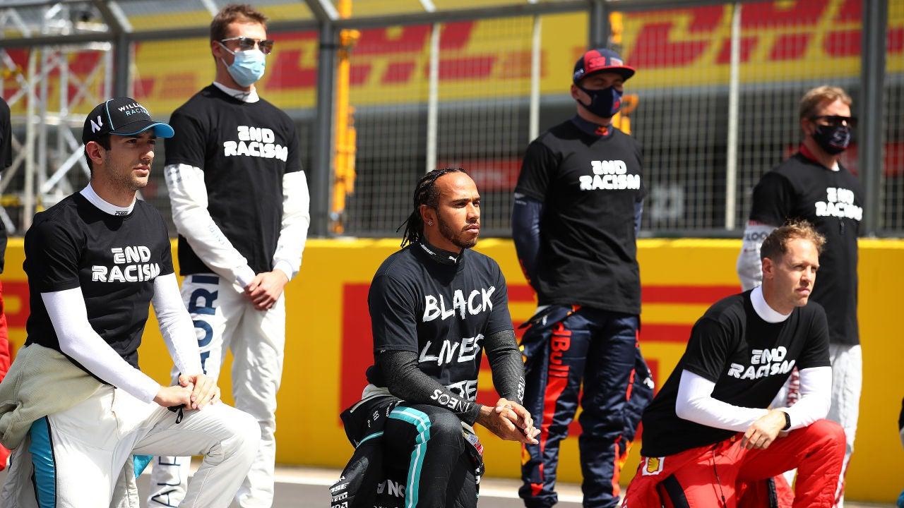 Varios pilotos de F1 antes del GP de Gran Bretaña