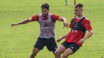 Futbolistas del Almería entrenando