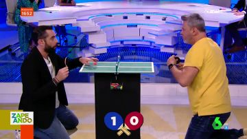 "El 'tenso' duelo de 'mini pingpong' entre Dani Mateo y Miki Nadal: ""Me he puesto nervioso"""