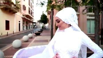 El terrible momento en que la explosión de Beirut sorprende a una novia en plena sesión de fotos de su boda