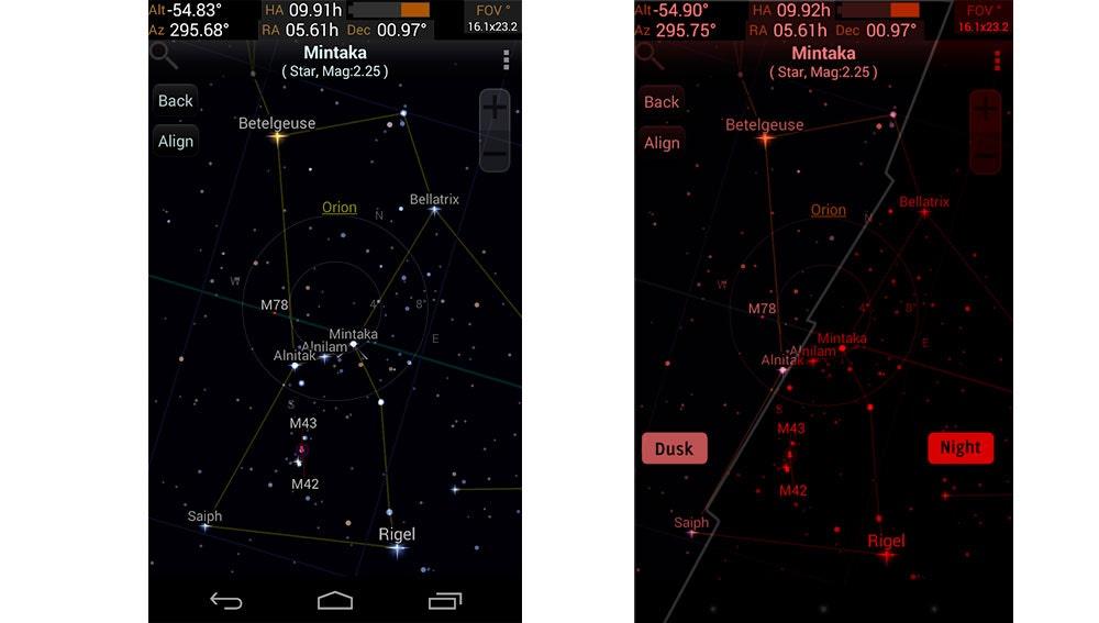 Viendo el cielo desde Android