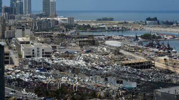 Vista de la ciudad de Beirut tras la explosión.