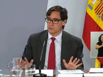 Salvador Illa durante la rueda de prensa en la que se han anunciado medidas para la vuelta al cole.