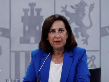 La ministra de Defensa Margarita Robles, durante la rueda de prensa con el Ministro de Sanidad Salvador Illa