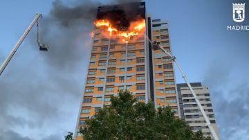 Incendio en una torre de Madrid
