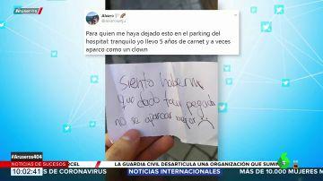 """La curiosa nota que encontró un enfermero en el parabrisas de su coche: """"No sé aparcar mejor"""""""