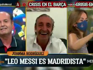 """Juanma Rodríguez afirma que Messi """"es madridista"""" y Josep Pedrerol no puede contener la risa"""