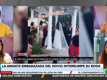 El tenso momento en el que la amante embarazada del novio interrumpe a gritos su boda con otra mujer
