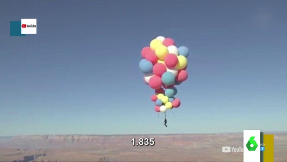 'Up' se vuelve real: así es el tenso momento en el que David Blaine se suelta de 50 globos a más de 7.000 metros de altura
