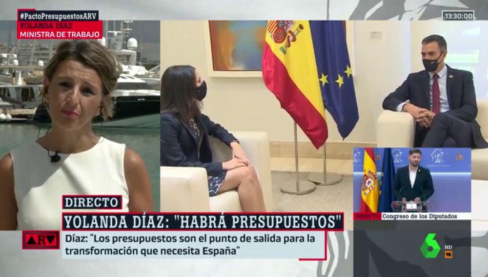 """Yolanda Díaz, sobre si prefiere a ERC o a Cs: """"Yo lo que quiero es que haya presupuestos"""""""