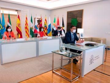 El presidente del Gobierno, Pedro Sánchez, durante la reunión con la Conferencia de Presidentes Autonómicos.