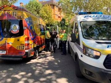 Agentes de la Policía Municipal de Madrid y de servicios de emergencias