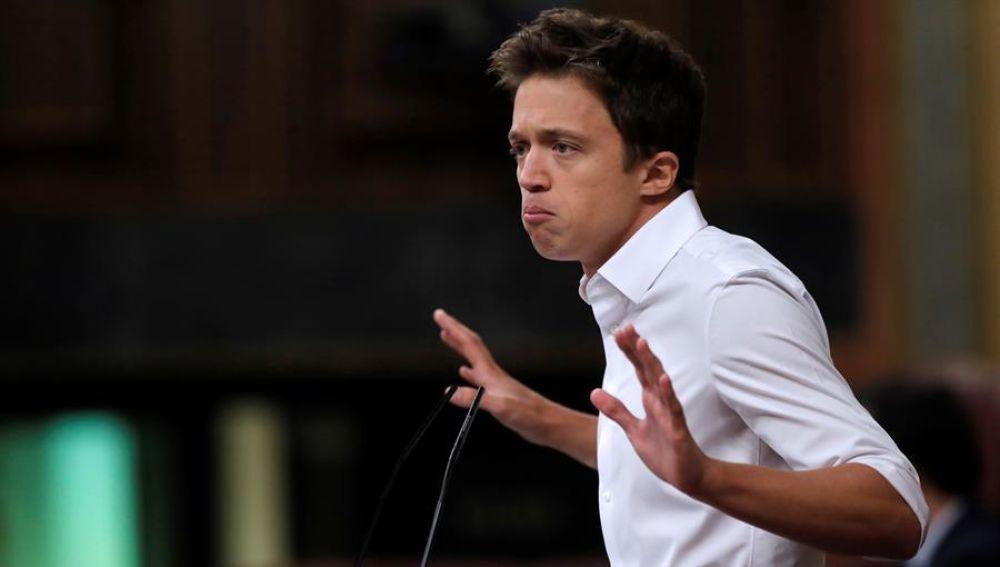El líder de Más País, Iñigo Errejón, durante su intervención en el pleno del Congreso