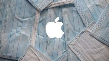 Mascarillas y el logotipo de Apple