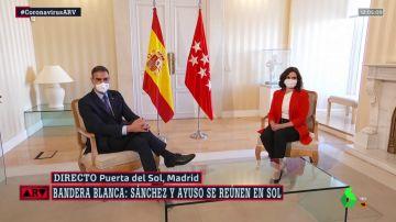 Pedro Sánchez e Isabel Díaz Ayuso, antes de su reunión en la Puerta del Sol