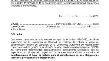 Este es el modelo de justificante para entrar y salir de las zonas con restricciones por el coronavirus en Madrid