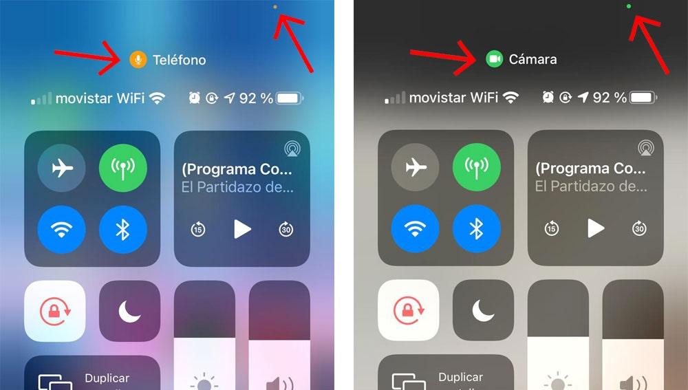 Alertas de uso de cámara y micrófono en iOS 14.