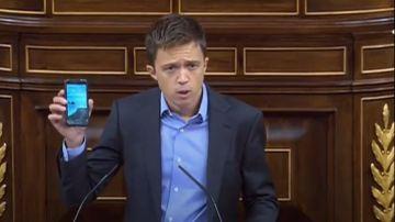 Íñigo Errejón durante su intervención en el Congreso de los Diputados.