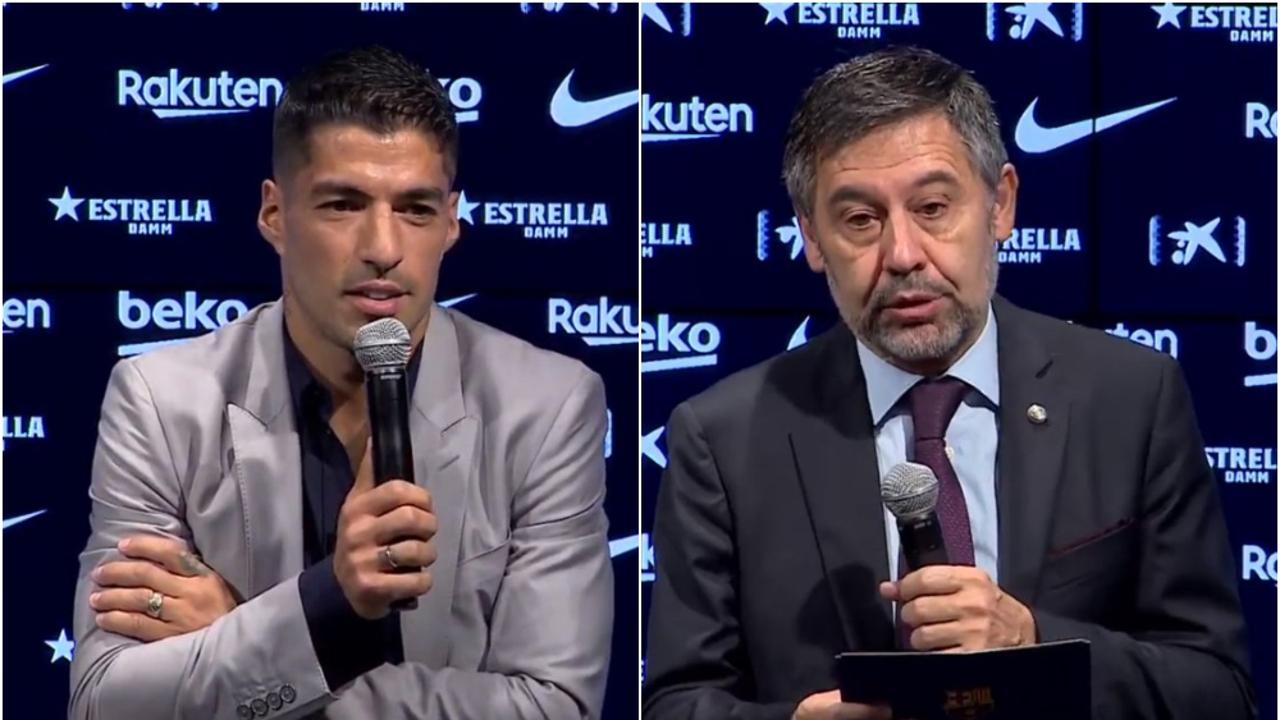 Luis Suárez y Josep María Bartomeu