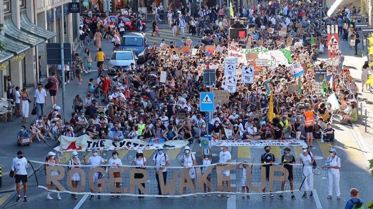 Manifestantes en Berna