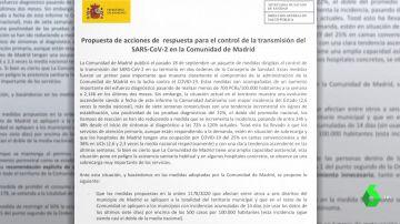 Documento entregado por Sanidad a la Comunidad de Madrid