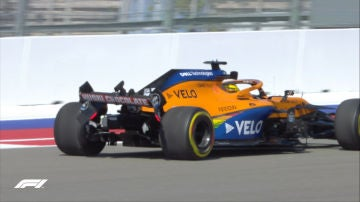 El McLaren de Sainz tras su accidente en Sochi