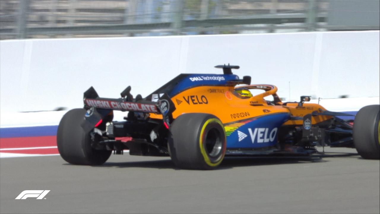 El McLaren de Sainz tras su accidente en Sochi