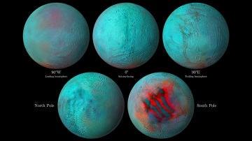 La NASA publica imágenes insólitas de Encélado, la luna de Saturno que esconde un mar en su interior