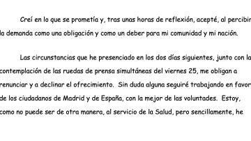 Carta de dimisión de Emilio Bouza como portavoz del Grupo Covid-19