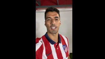 Luis Suárez, con la camiseta del Atlético de Madrid
