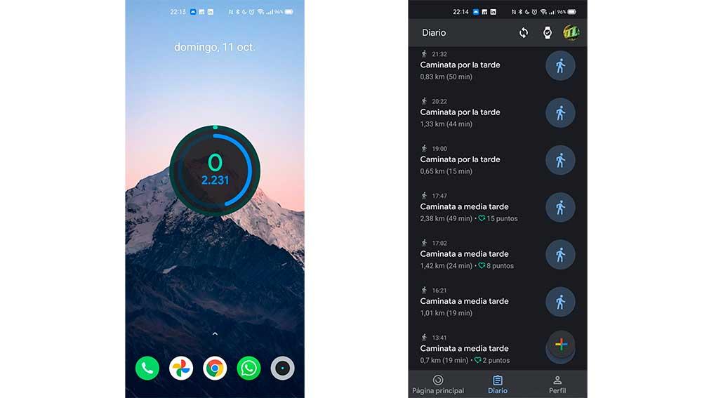 El widget de Google Fit con los pasos y las caminatas diarias