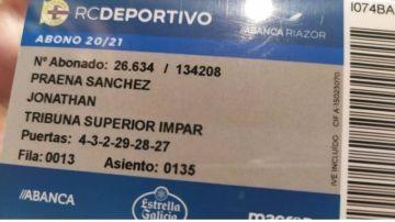 Carnet de socio del Deportivo de Jonathan Praena