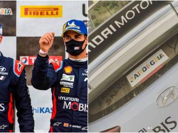 Dani Sordo y Carlos del Barrio, tras ganar el Rally de Cerdeña