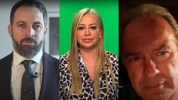 Santiago Abascal, Belén Esteban y Bertín Osborne en el vídeo