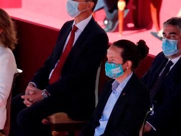 El vicepresidente segundo, Pablo Iglesias durante el acto organizado con motivo del Día de la Fiesta Nacional, en Madrid