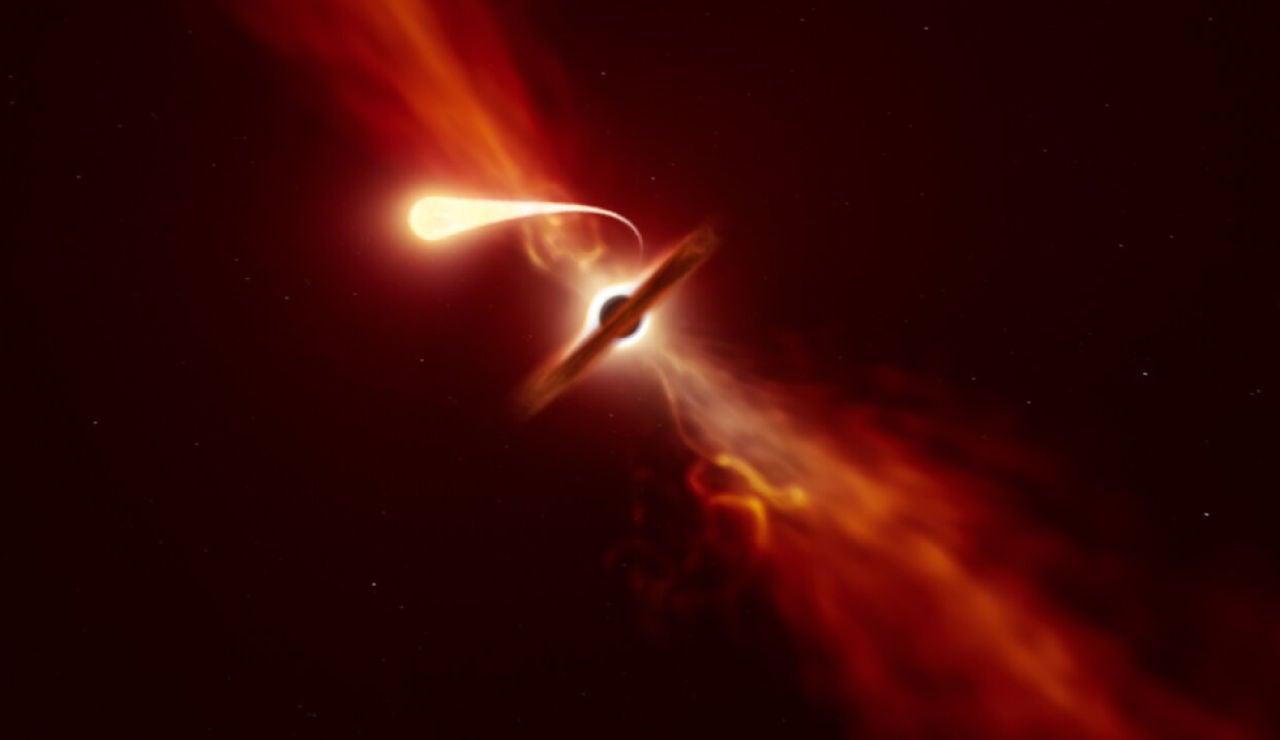 Captan los últimos momentos de una estrella devorada por un agujero negro