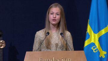 La princesa Leonor, durante su discurso en los Premios Princesa de Asturias 2020