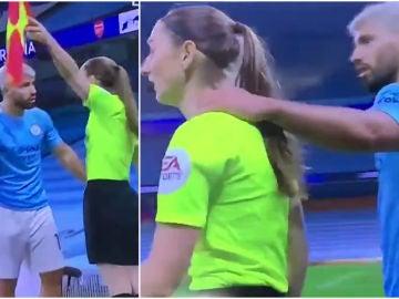 El Kun Agüero pone su mano en el hombro de la jueza de línea