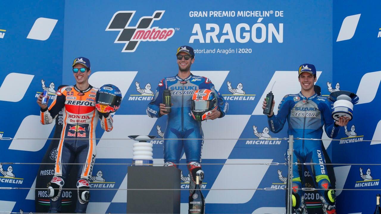 Alex Rins, Alex Márquez y Joan Mir: podio español en GP de Aragón