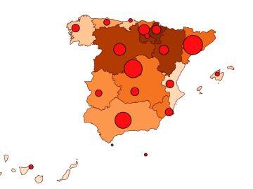 Mapa actualizado con la incidencia de cada Comunidad Autónoma