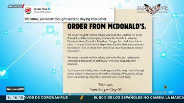 El mensaje de Burger King para salvar McDonald's que se ha hecho viral