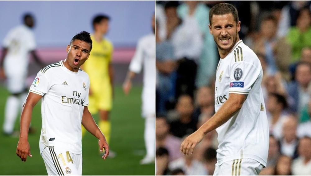 En la imagen, Casemiro y Hazard, futbolistas del Real Madrid