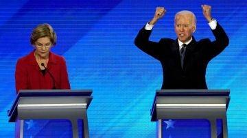 Elizabeth Warren, junto a Joe Biden