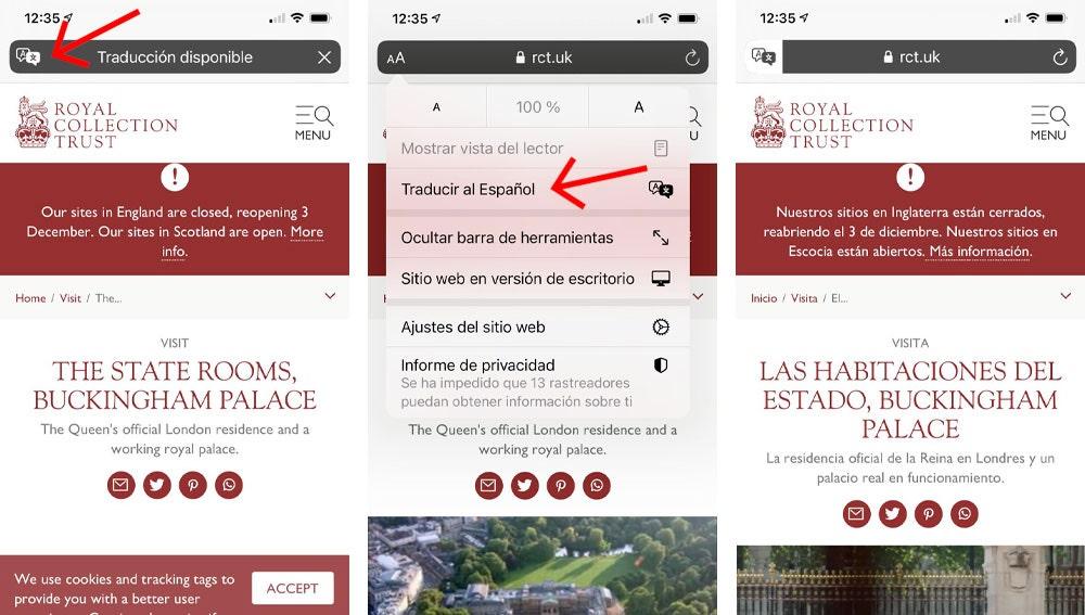 Traducción de páginas en Safari de forma rápida.