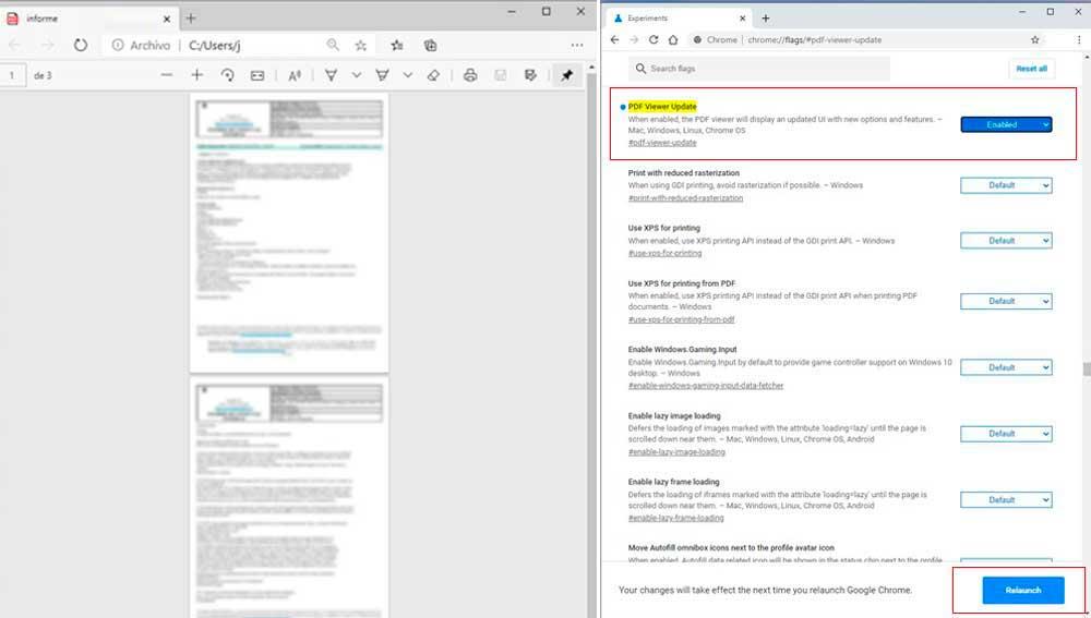 Activando las novedades del visor de pdf